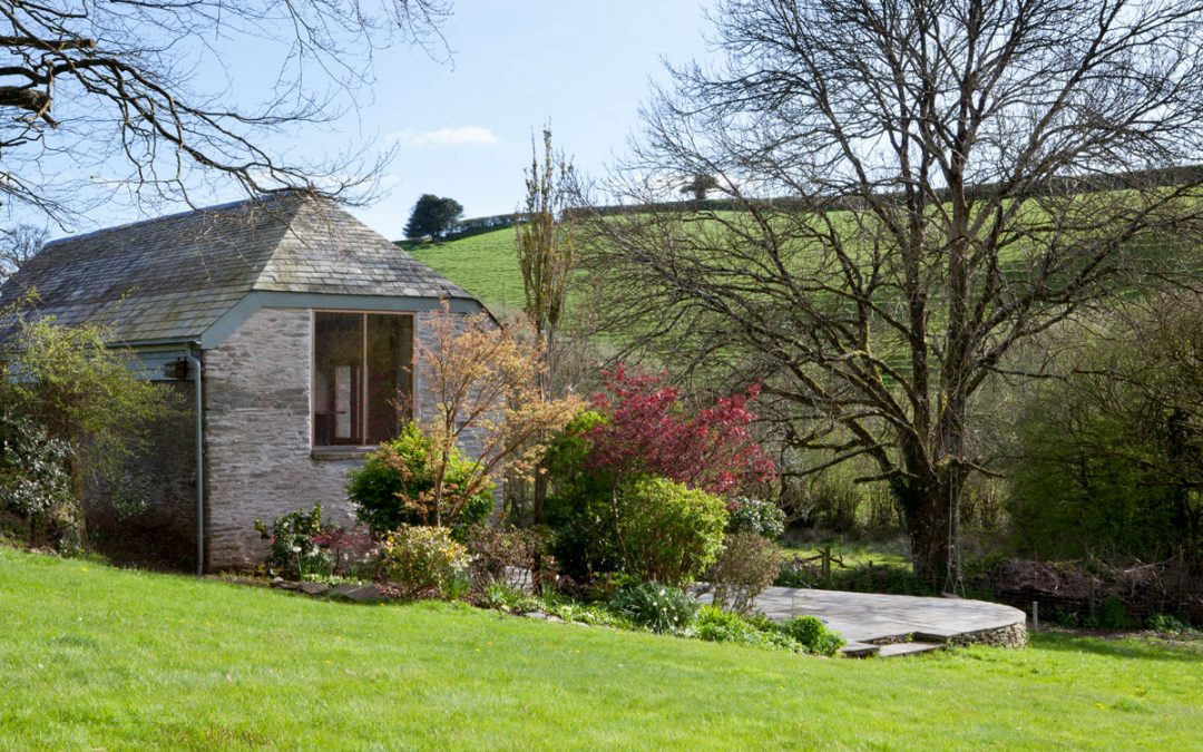Farm outbuilding conversion with landscaping